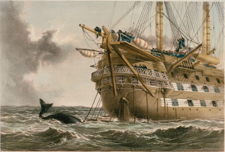 HMS Agamemnon laying the first Atlantic cable in 1858 (National Maritime Museum)
